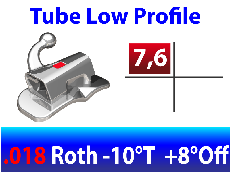 Tube molaire LP™ .018 UR N/CONV EXT - BASE LARGE - ROTH -10°T  +8°Off 4.2mm - 10/pk