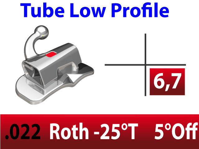Tube molaire LP™ .022 LL N/CONV EXT- BASE LARGE - ROTH -25°T  +5°Off 4.2mm - 10/pk