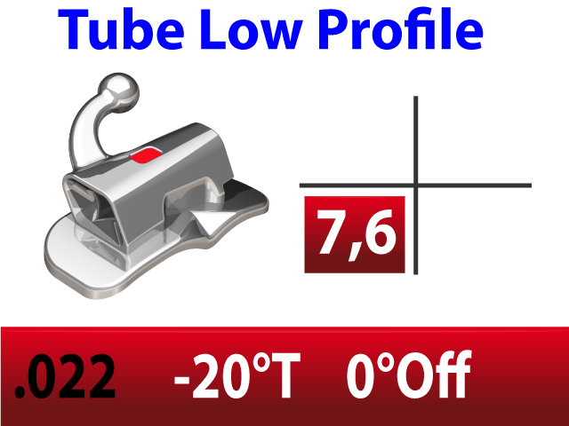 Tube molaire LP™ .022 LR N/CONV EXT - BASE LARGE -20°T  +0°Off 4.2mm - 10/pk