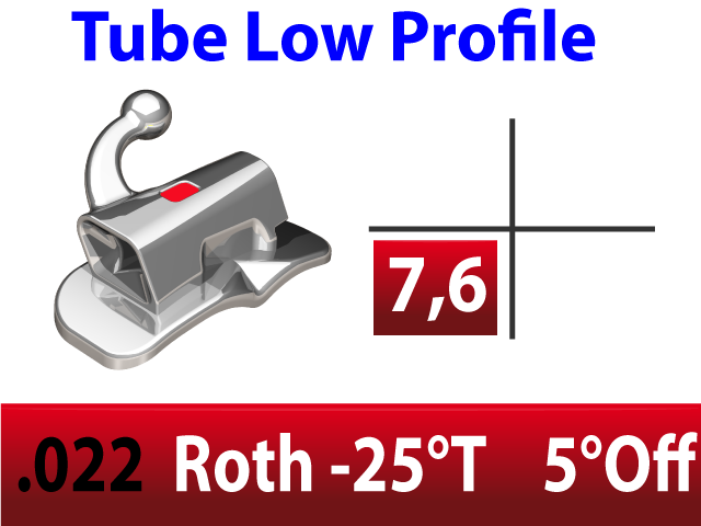 Tube molaire LP™ .022 LR N/CONV EXT - BASE LARGE - ROTH -25°T  +5°Off 4.2mm - 10/pk
