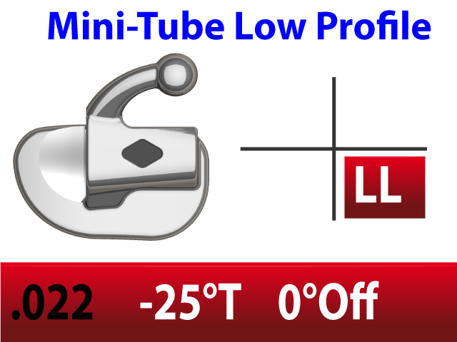 Mini Tube .022 LL  -25°Torq  0°Off 2.5mm - 10/pk